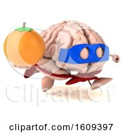 3d Super Brain Character Hodling An Orange On A White Background