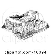 University In Black And White Clipart Illustration