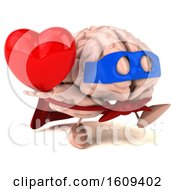 3d Super Brain Character Hodling A Heart On A White Background