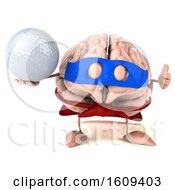 3d Super Brain Character Hodling A Golf Ball On A White Background