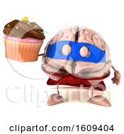 3d Super Brain Character Hodling A Cupcake On A White Background