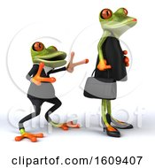 Clipart Of A 3d Formal Green Springer Frog Trying To Impress A Female On A White Background Royalty Free Illustration