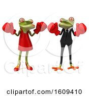 3d Green Frog Couple Fighting With Boxing Gloves On A White Background