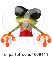 3d Green Female Springer Frog In A Red Dress On A White Background