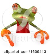 Clipart Of A 3d Green Female Springer Frog In A Red Dress On A White Background Royalty Free Illustration
