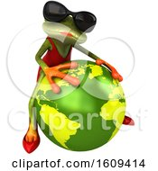 Clipart Of A 3d Green Female Springer Frog In A Red Dress Hugging A Globe On A White Background Royalty Free Illustration