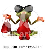 Clipart Of A 3d Meditating Green Female Springer Frog In A Red Dress On A White Background Royalty Free Illustration