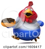 Poster, Art Print Of 3d French Chicken Holding A Donut On A White Background