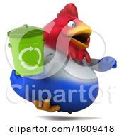 Poster, Art Print Of 3d French Chicken Holding A Recycle Bin On A White Background