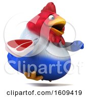 Poster, Art Print Of 3d French Chicken Holding A Steak On A White Background