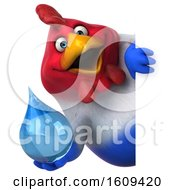 Poster, Art Print Of 3d French Chicken Holding A Water Drop On A White Background