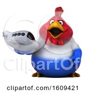 Poster, Art Print Of 3d French Chicken Holding A Plane On A White Background