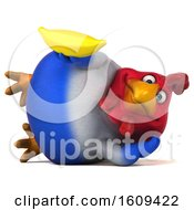 Poster, Art Print Of 3d French Chicken Holding A Banana On A White Background