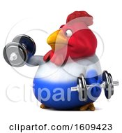 Poster, Art Print Of 3d French Chicken Working Out With Dumbbells On A White Background