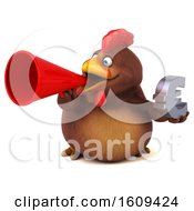 Poster, Art Print Of 3d Chubby Brown Chicken Holding A Euro On A White Background