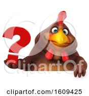 Poster, Art Print Of 3d Chubby Brown Chicken Holding A Question Mark On A White Background