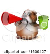 Clipart Of A 3d Bulldog Holding A Recycle Bin On A White Background Royalty Free Illustration by Julos