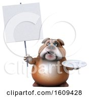 Clipart Of A 3d Bulldog Holding A Plate On A White Background Royalty Free Illustration by Julos