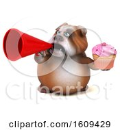 Clipart Of A 3d Bulldog Holding A Cupcake On A White Background Royalty Free Illustration by Julos