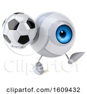 3d Blue Eyeball Character Holding A Soccer Ball On A White Background