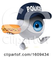 3d Blue Police Eyeball Character Holding A Hot Dog On A White Background