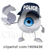 3d Blue Police Eyeball Character Holding A Dollar Sign On A White Background