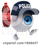 3d Blue Police Eyeball Character Holding A Soda On A White Background