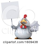 3d White Chicken Holding A House On A White Background