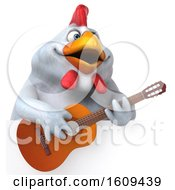 3d White Chicken Playing A Guitar On A White Background