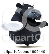 3d Black Bull Holding A Plate On A White Background