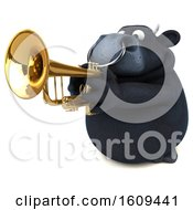 3d Black Bull Playing A Trumpet On A White Background