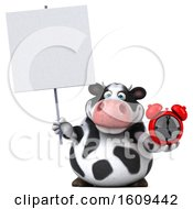 3d Holstein Cow Holding An Alarm Clock On A White Background