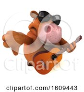 3d Brown Cow Holding A Guitar On A White Background