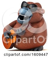 Clipart Of A 3d Orangutan Monkey Holding A Guitar On A White Background Royalty Free Illustration by Julos
