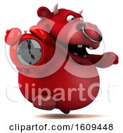 3d Red Business Bull Holding An Alarm Clock On A White Background