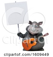 3d Rhinoceros Holding A Guitar On A White Background