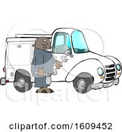Cartoon Black Male Worker Holding Tools By A Truck