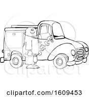 Clipart Of A Cartoon Lineart Black Male Worker Holding Tools By A Truck Royalty Free Vector Illustration