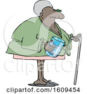 Cartoon Black Senior Woman With A Cane And Her Teeth In A Glass
