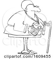 Cartoon Lineart Black Senior Woman With A Cane And Her Teeth In A Glass