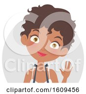 Clipart Of A Friendly Black Female Barista Waving Royalty Free Vector Illustration