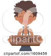 Clipart Of A Friendly Black Female Barista Holding An Open Sign Royalty Free Vector Illustration