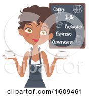 Clipart Of A Friendly Black Female Barista Holding Coffee Cups Royalty Free Vector Illustration