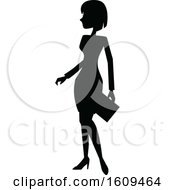Clipart Of A Silhouetted Business Woman Royalty Free Vector Illustration