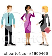 Clipart Of A Happy Indian Business Woman Talking On A Phone And Colleagues Smiling At Her Royalty Free Vector Illustration