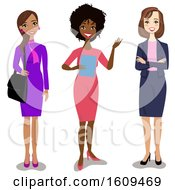 Clipart Of A Group Of Happy Hispanic Black And White Business Women Royalty Free Vector Illustration by peachidesigns