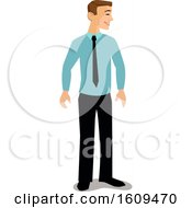 Clipart Of A Happy White Business Man Smiling And Facing To The Right Royalty Free Vector Illustration