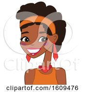 Clipart Of A Beautiful Black Woman In Orange Royalty Free Vector Illustration