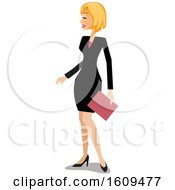 Clipart Of A Happy White Business Woman Smiling And Looking To The Left Royalty Free Vector Illustration