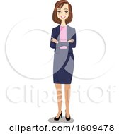 Happy White Business Woman With Folded Arms